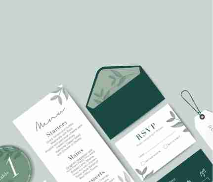 wedding invitations with envelope in olive tones